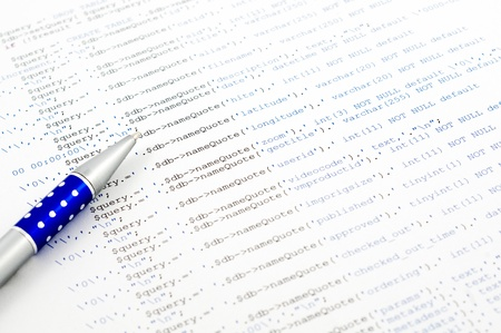 db: Printed on paper SQL code technology background Stock Photo