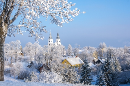 Cold winter  Frosted town in Lithuania  Zemaiciu Kalvarija