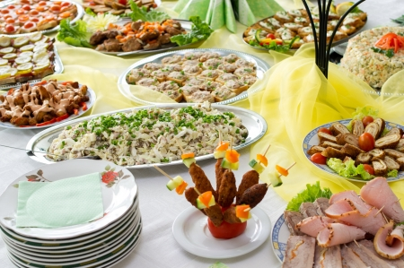 food buffet: Catering food at a party  In Lithuania  Stock Photo