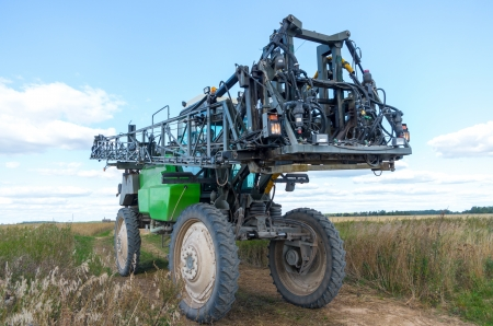 propelled: Self propelled sprayer in a field  Stock Photo