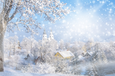 Christmas card  Cold winter  Frosted town in Lithuania  Zemaiciu Kalvarija