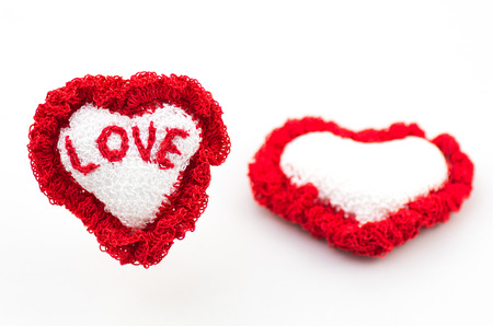 fervour: Two handmade heart knitted made from yarn and with word love