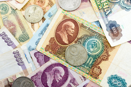 numismatic: The photo of old Russian ruble banknotes  Image can be used as background