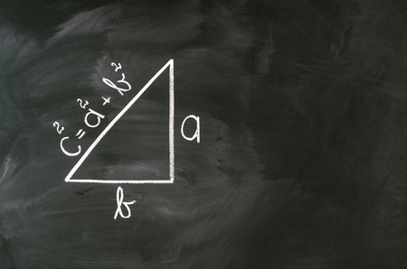 Pythagoras formula write on blackboard with chalk Stock Photo