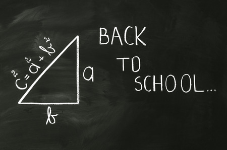 Pythagoras formula write on blackboard with chalk photo