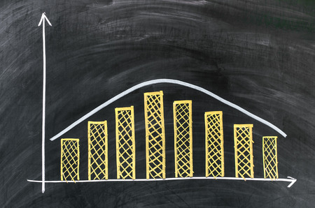 Positive graph on blackboard, finance or something else Stock Photo