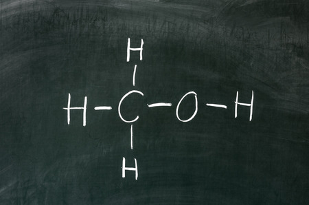 Alcohol methanol on blackboard in chemistry class Stock Photo - 28428064