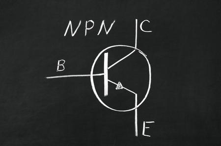 emitter: NPN type transistor marking sign drawed on the blackboard