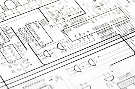electrical engineering: Detailed technical drawing with a lot of calculations