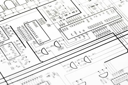 Disegno tecnico dettagliato con un sacco di calcoli Archivio Fotografico