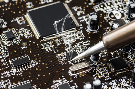 Computer circuit board with central processing unit Stock Photo