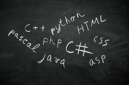Several programming languages names written in on the blackboard