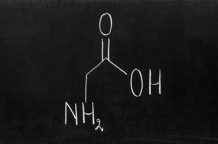 organic compound: Glycine is an organic compound with the formula NH2CH2COOH. Stock Photo