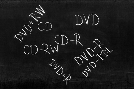 cd rw: Several media types writed on blackboard with chalk