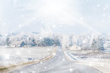 bilding: Christmas card. Cold winter. Frosted town in Lithuania. Zemaiciu Kalvarija Stock Photo