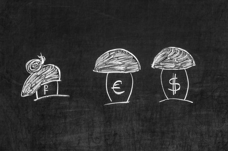 shown: Dollar, the euro and the ruble shown as the mushrooms Stock Photo