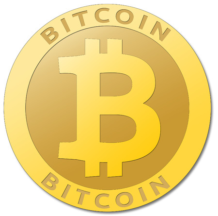 We accept bitcoins. Golden bitcoin virtual currency. Stock Photo