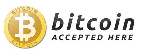 We accept bitcoins. Golden bitcoin virtual currency. Фото со стока