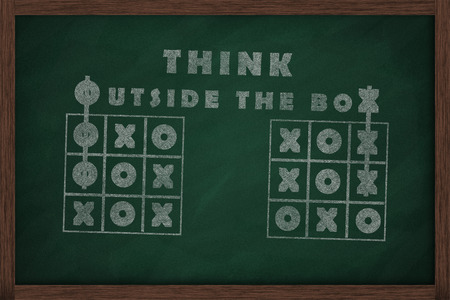 think outside the box: Tic tac toe and words think outside the box