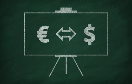currencies: Two different currencies icon drawn on the blackboard