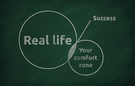 happenings: Blackboard concept for leaving your comfort zone behind and moving in to the real life
