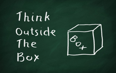 think outside the box: Think Outside the Box Concept drawn with Chalk on Blackboard