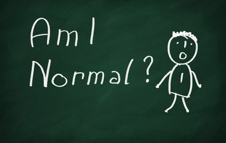 health questions: On the blackboard draw character and write Am I Normal