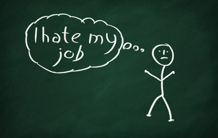 On the blackboard draw character and write I Hate My Job Stock Photo