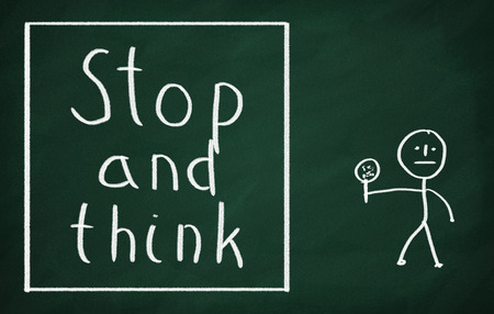 preparedness: On the blackboard draw character and write Stop and think