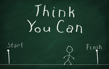 On the blackboard draw character and write Think You Can