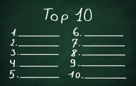 On the blackboard with chalk make top ten list