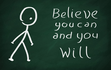 On the blackboard draw character and write Believe you can and you will