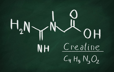 Chemical formula of creatine on a blackboard Stock Photo