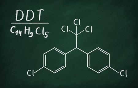 Chemical formula of DDT on a blackboard