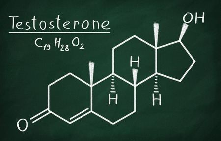 Chemical formula of Testosterone on a blackboard