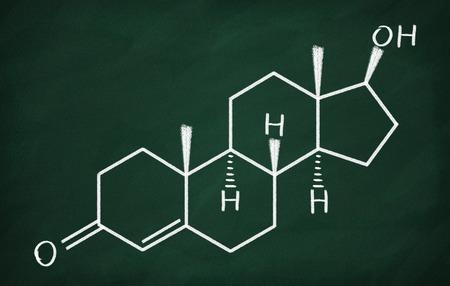 testosterone: Chemical formula of Testosterone on a blackboard