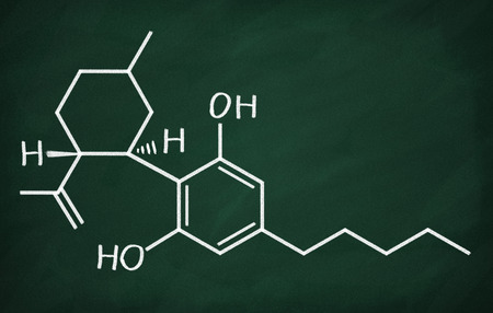 Chemical formula of Cannabidiol on a blackboard