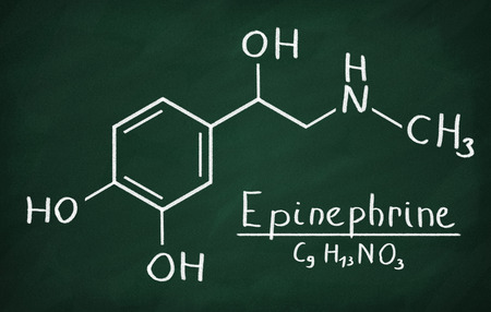 Chemical formula of Epinephrine on a blackboard