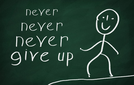 never: On the blackboard draw character and write Never never never give up