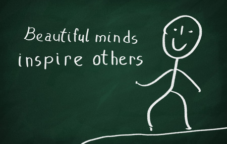 others: On the blackboard draw character and write Beautiful minds inspire others Stock Photo