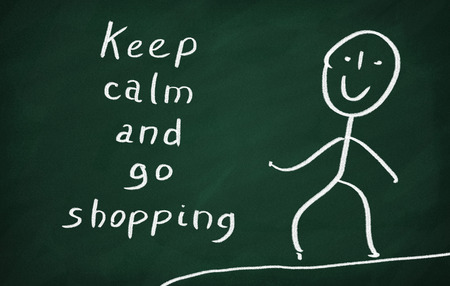 go shopping: On the blackboard draw character and write Keep calm and go shopping