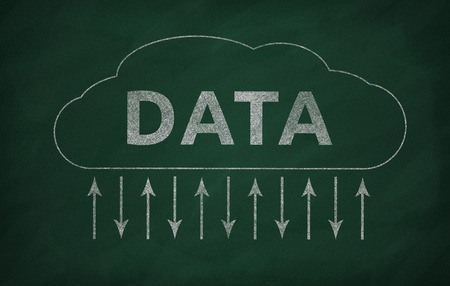 transferring: The chalkboard with a cloud data transferring illustration Stock Photo