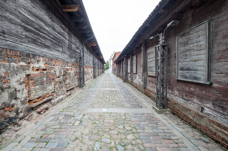 backstreet: Old historic backstreet in Liepaja, Latvia country. Stock Photo