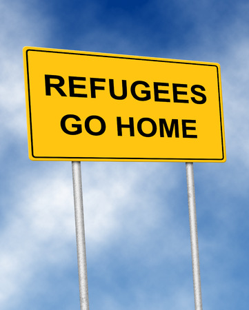 illegal immigrant: The road sign symbol with text Refugees go home Stock Photo