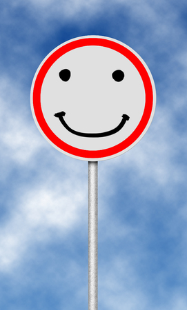 smily face: Traffic and street sign with smilie face Stock Photo