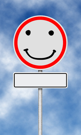 smilie: Traffic and street sign with smilie face Stock Photo