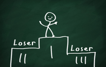 loser: On the blackboard draw character and write Loser Stock Photo