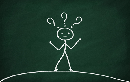 On the blackboard draw character with question-marks