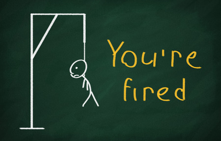 you are fired: On the blackboard draw character and write Youre fired Stock Photo