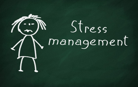health management: On the blackboard draw character and write Stress management